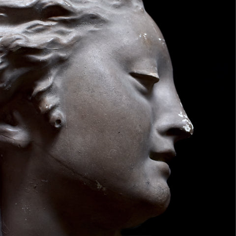Beautiful French Cast Plaster Bust Mould of a Woman.