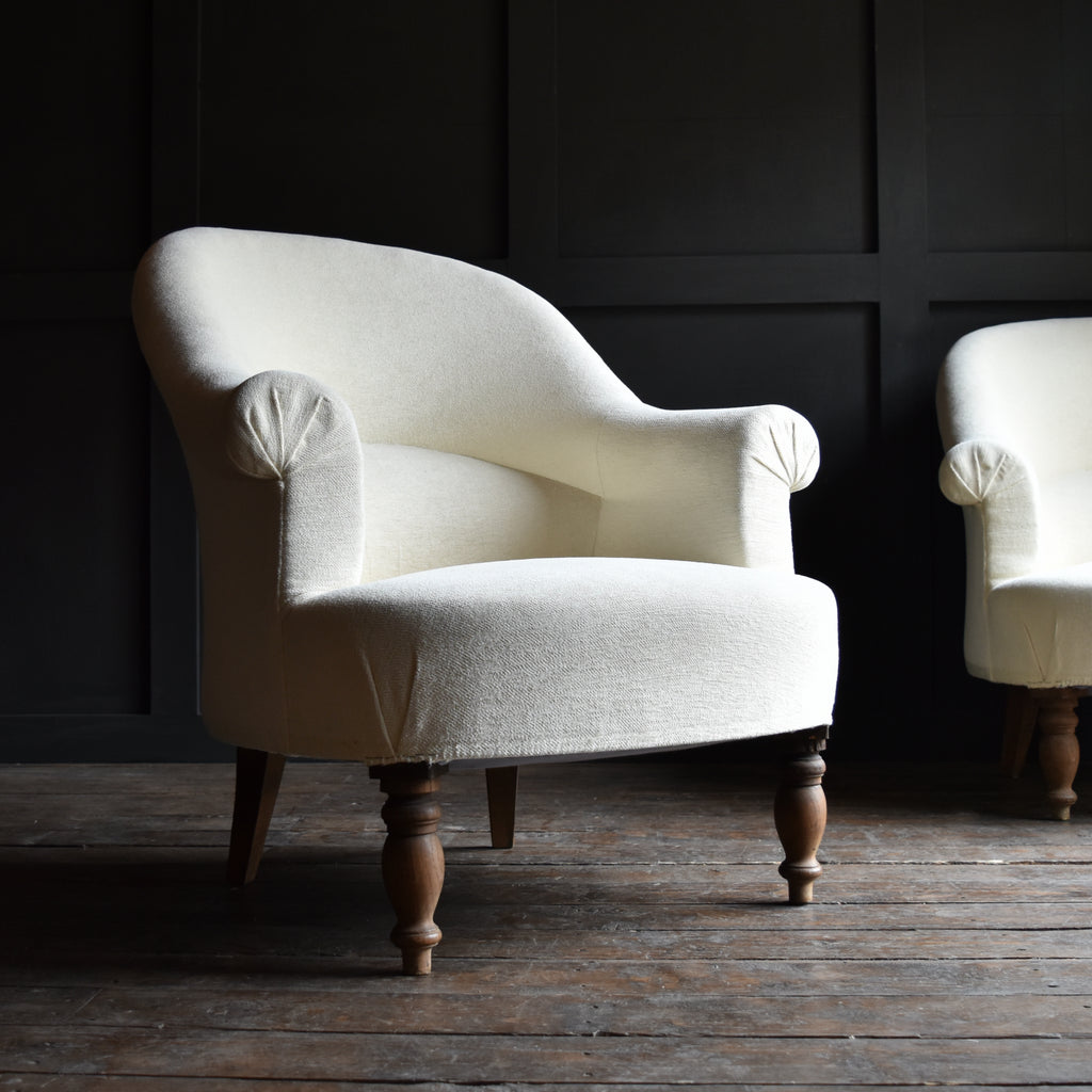 Pair of Upholstered French Napoleon III Style Crapaud Armchairs.