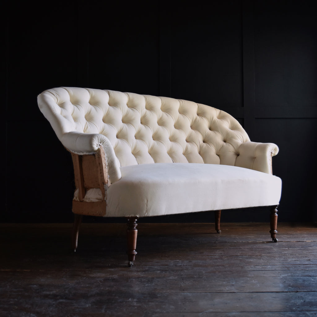 Napoleon III Button Back Two Seat Sofa. Upholstery Inclusive