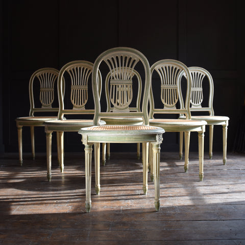 Set of Six Louis XVI Revival Painted Dining Chairs.