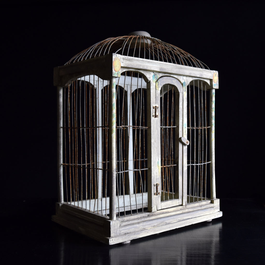 Decorative Edwardian Painted Bird Cage.