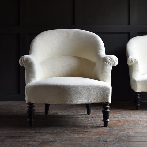 Pair of Upholstered 19th Century French Crapaud Armchairs.