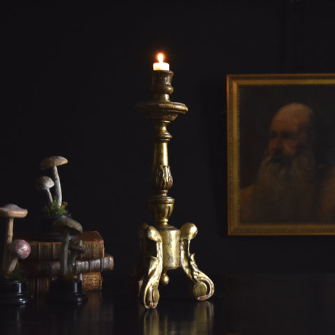 18th century Italian Gilt Wood Baroque Candlestick. 'RESERVED'