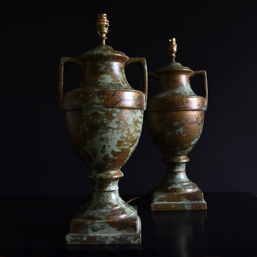 Pair of Large Oxidised Ceramic Urn Table Lamps, Circa 1930's