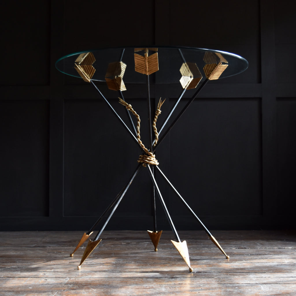 Decorative Mid Century Italian Iron and Gilt Arrow Table.
