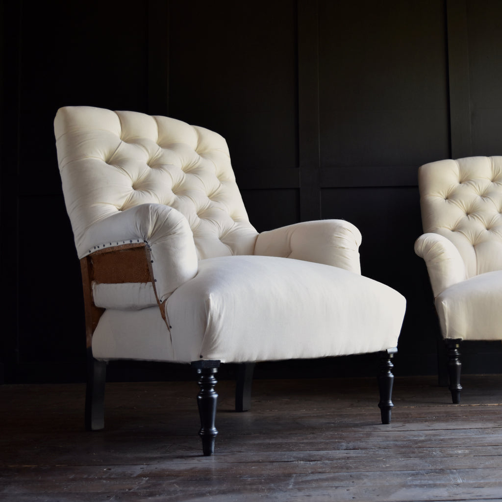 Pair of Napoleon III Ebonised Button Back Armchairs. Upholstery Inclusive.