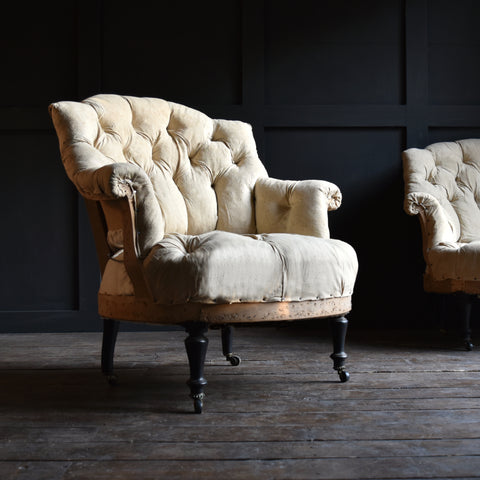 Pair of 19th Century Napoleon III Buttoned Tub Armchairs, Upholstery Inclusive.