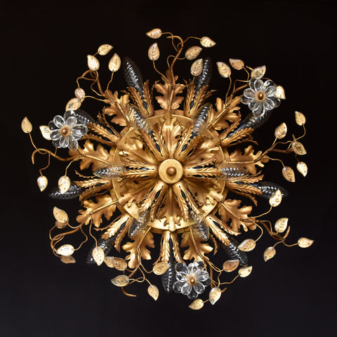 Mid Century Italian Florentine Tole Wall or Ceiling Light by Banci Firenze.