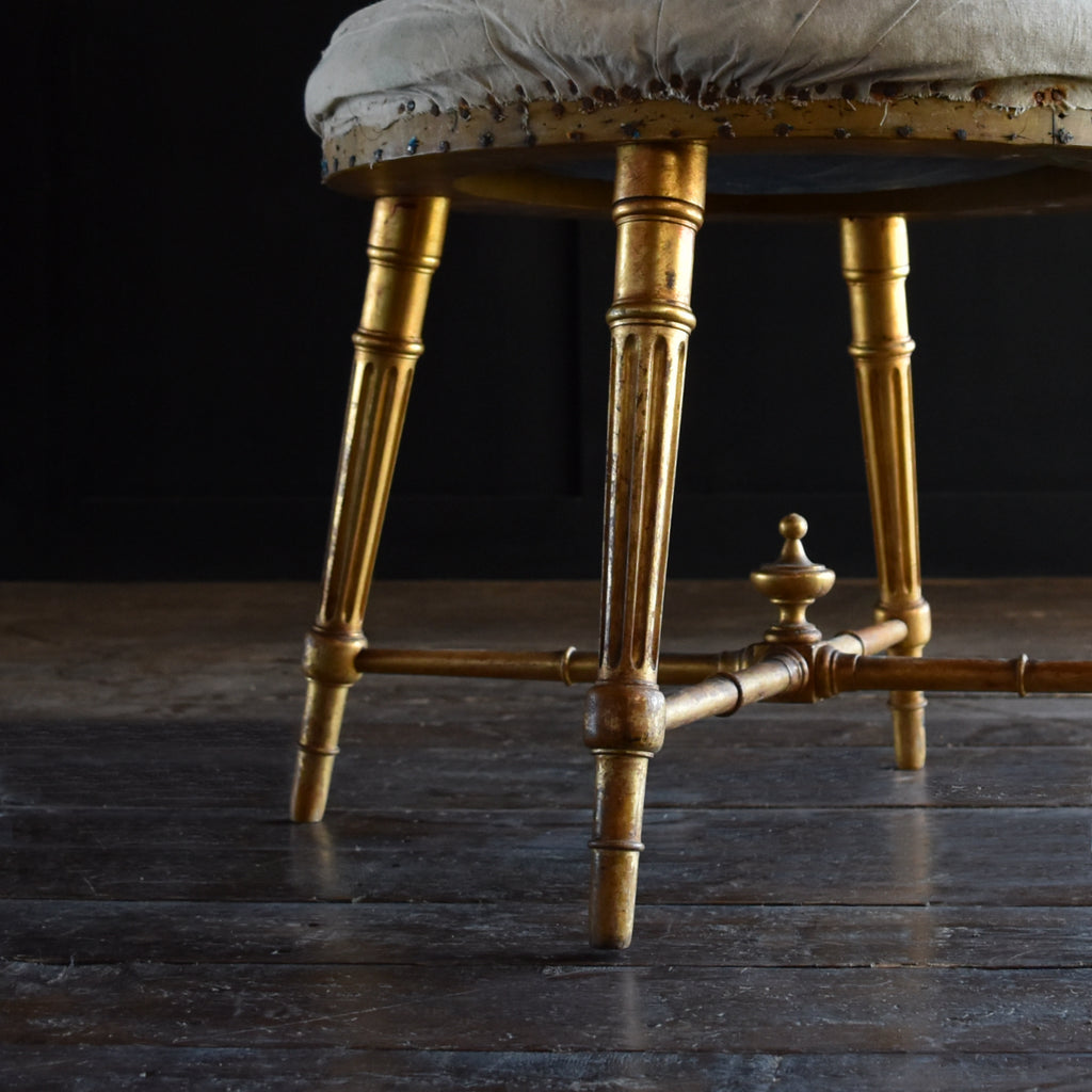 Beautiful 19th Century French Giltwood Stool. Upholstery Inclusive