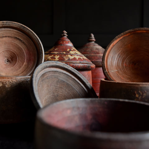 Collection of Six Hindu Bindi Ceremonial Powder Jars.