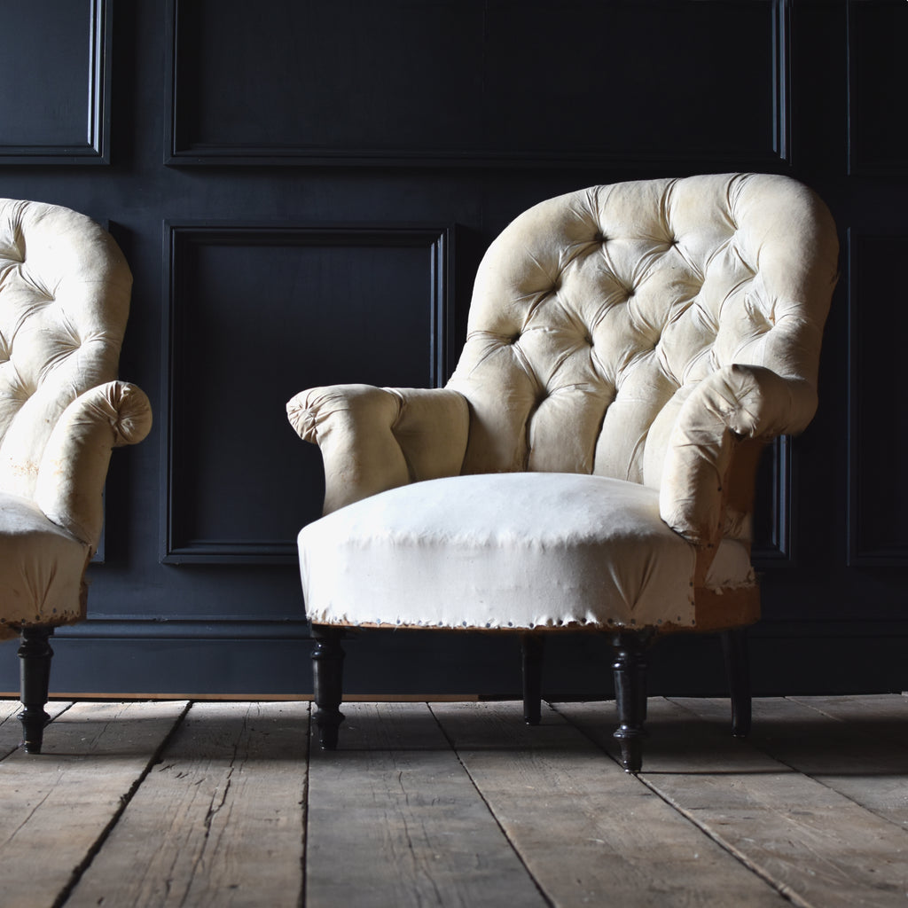 Pair of French Napoleon III Button Back Armchairs, Upholstery Inclusive. 'RESERVED'