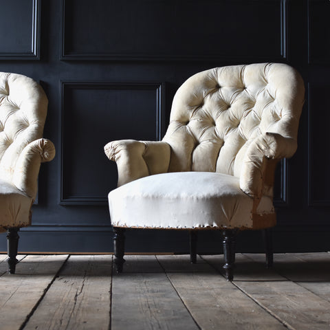 Pair of French Napoleon III Button Back Armchairs, Upholstery Inclusive.