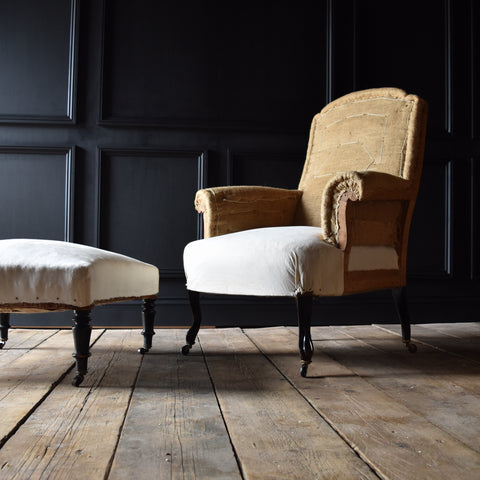 French Naploleon III Armchair with Fitting Footstool.  Upholstery Inclusive