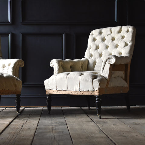 Pair of Napoleon III Fully Buttoned Ebonised Armchairs. Upholstery Inclusive.