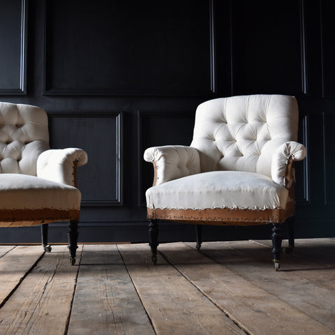 Pair of 19th Century French Ebonised Armchairs. Upholstery Inclusive.