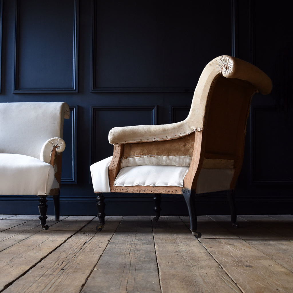 Excellent Pair of 19th Century French Scroll Back Armchairs. Circa 1850-1880. Upholstery Inclusive