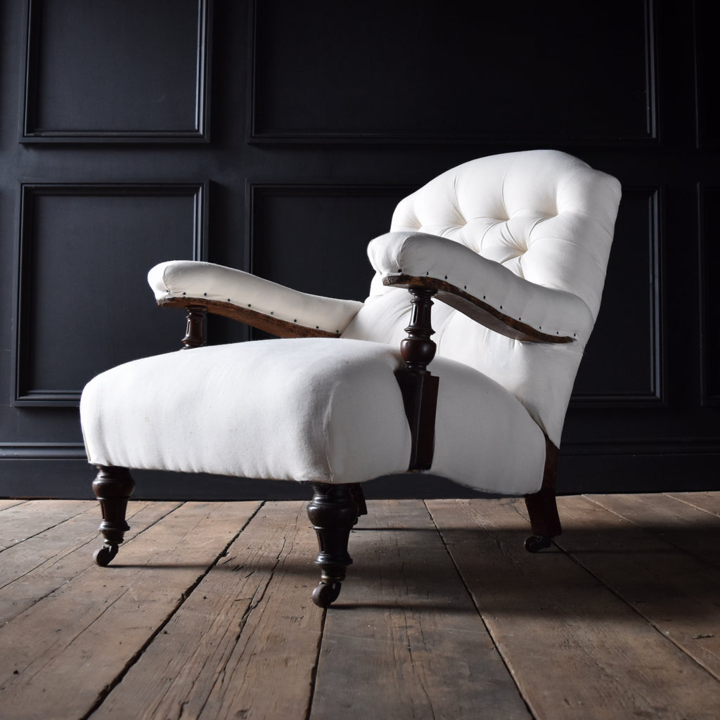 19th Century English Country House Library Armchair, Upholstery Inclusive.
