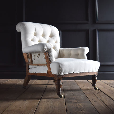 19th Century English Button Back Armchair by W.Bryson. Upholstery inclusive