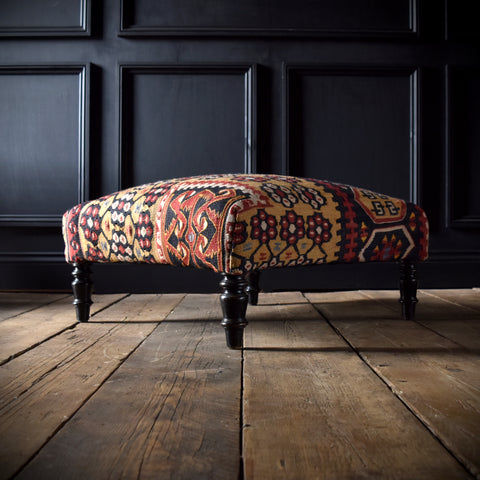 Large Napoleon III Ottoman Foot Stool with Kilim Upholstery.