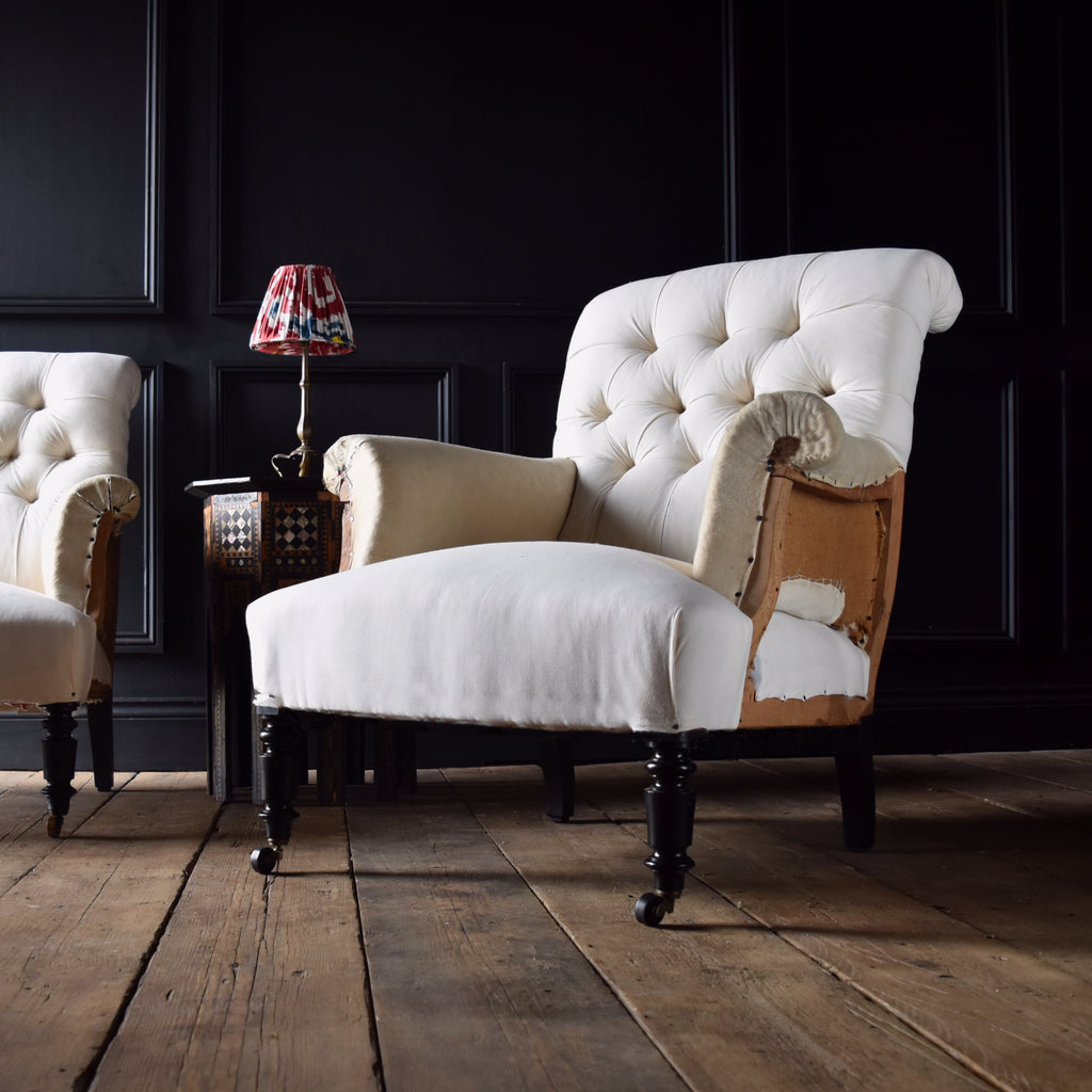 Pair of Napoleon III Scrolled Button Back Armchairs. Upholstery Inclusive.