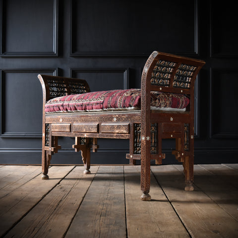 Early 20th Century Moorish Long Seat with Kilim Cushion.