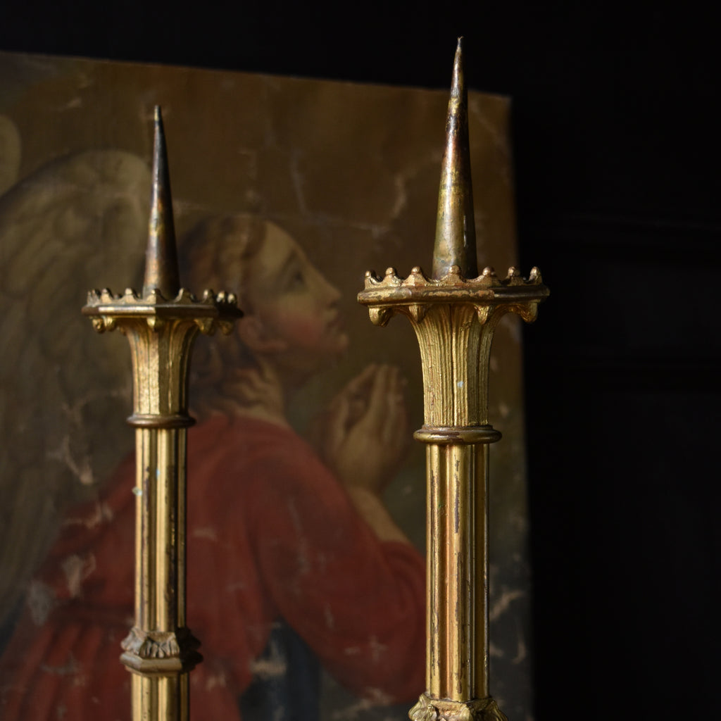 Pair Late 19th Century French Gilded Bronze Alter Candlesticks