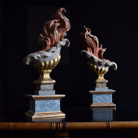 Pair of Rare 18th Century Baroque Carved Wood Flames.