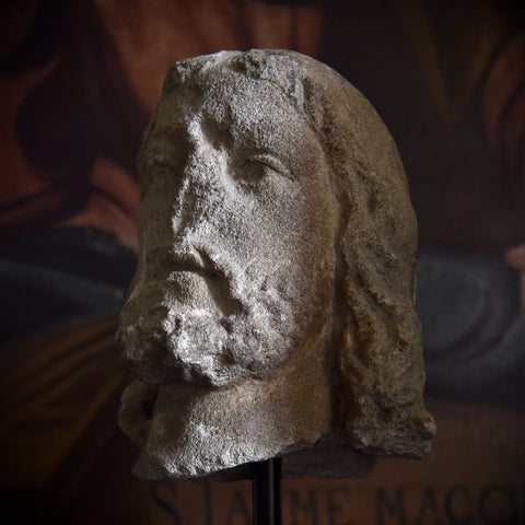 An Interesting Medieval Carved Stone Head. 14th-15th century.