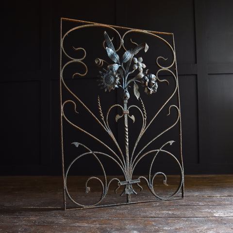 Decorative Painted Wrought Iron Grill. Belgium 1900-1920.