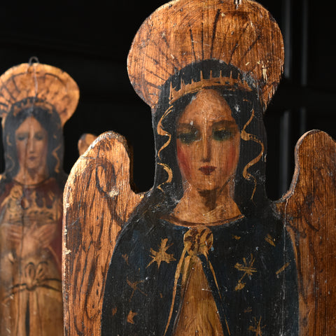 Pair of Decorative Italian Hand Painted Angel Wall Panels.