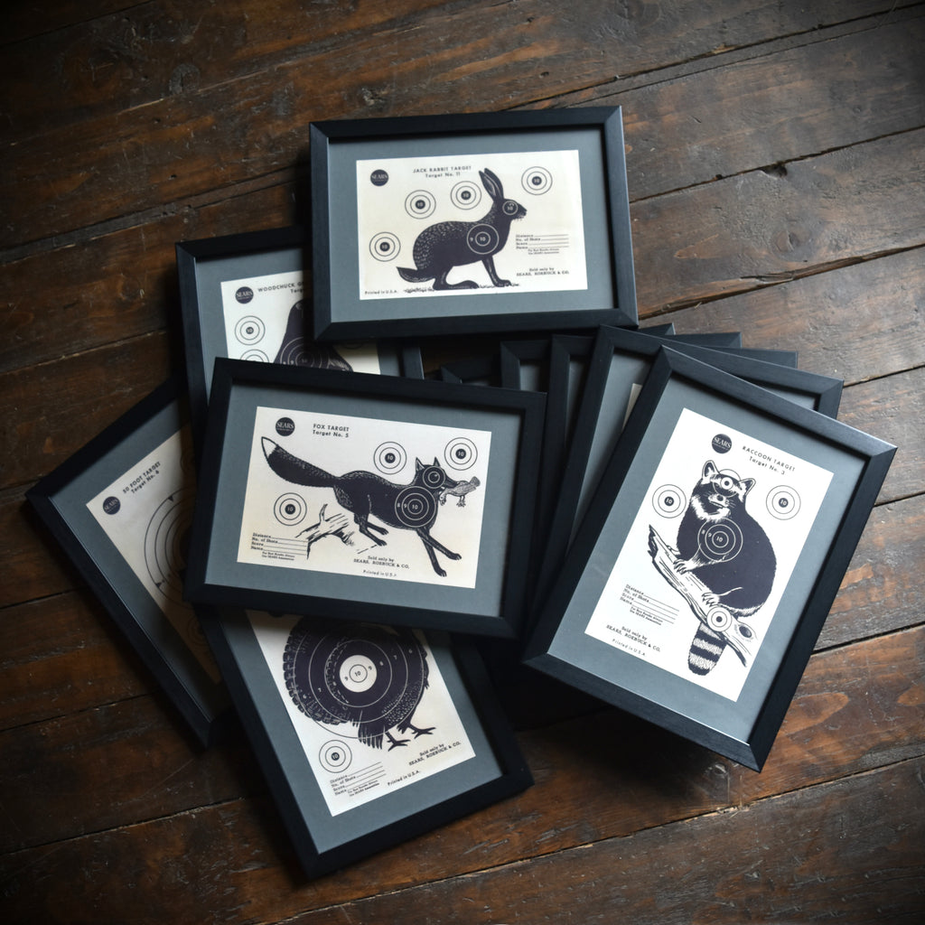 A Set Of 10 Framed Animal Targets, J.C Higgins & Roebuck-1940 USA.