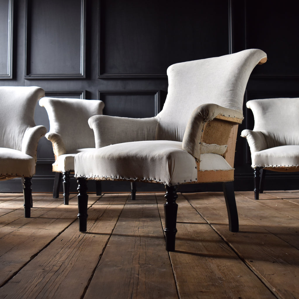 Set of Four Petite French Scroll Back Armchairs. Upholstery inclusive. 'RESERVED'