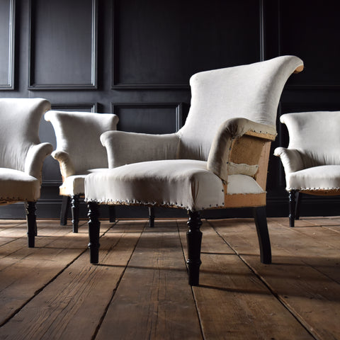 Set of Four Petite French Scroll Back Armchairs. Upholstery inclusive.