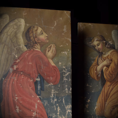 Beautiful Pair of Large French 19th Century Paintings of Angels.
