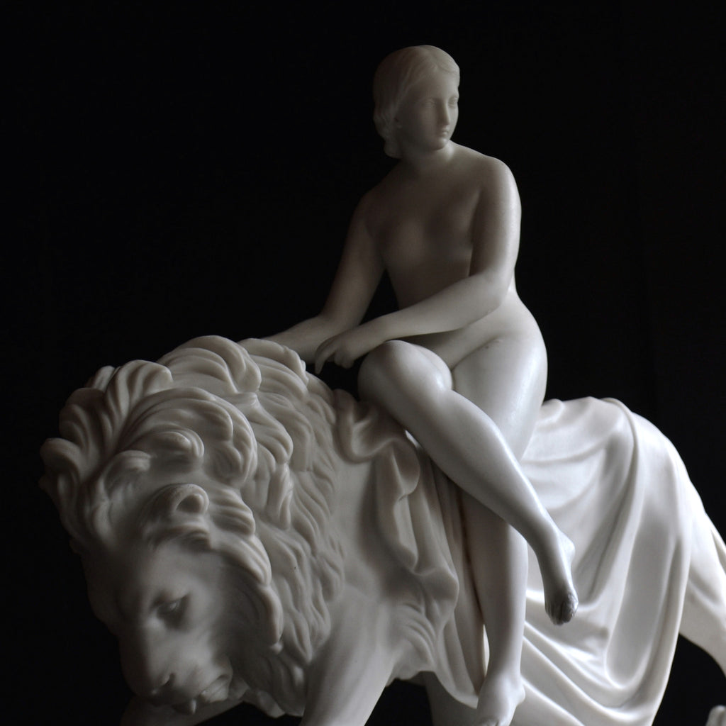 A 19th Century Minton Parian figure group 'Una and The Lion'