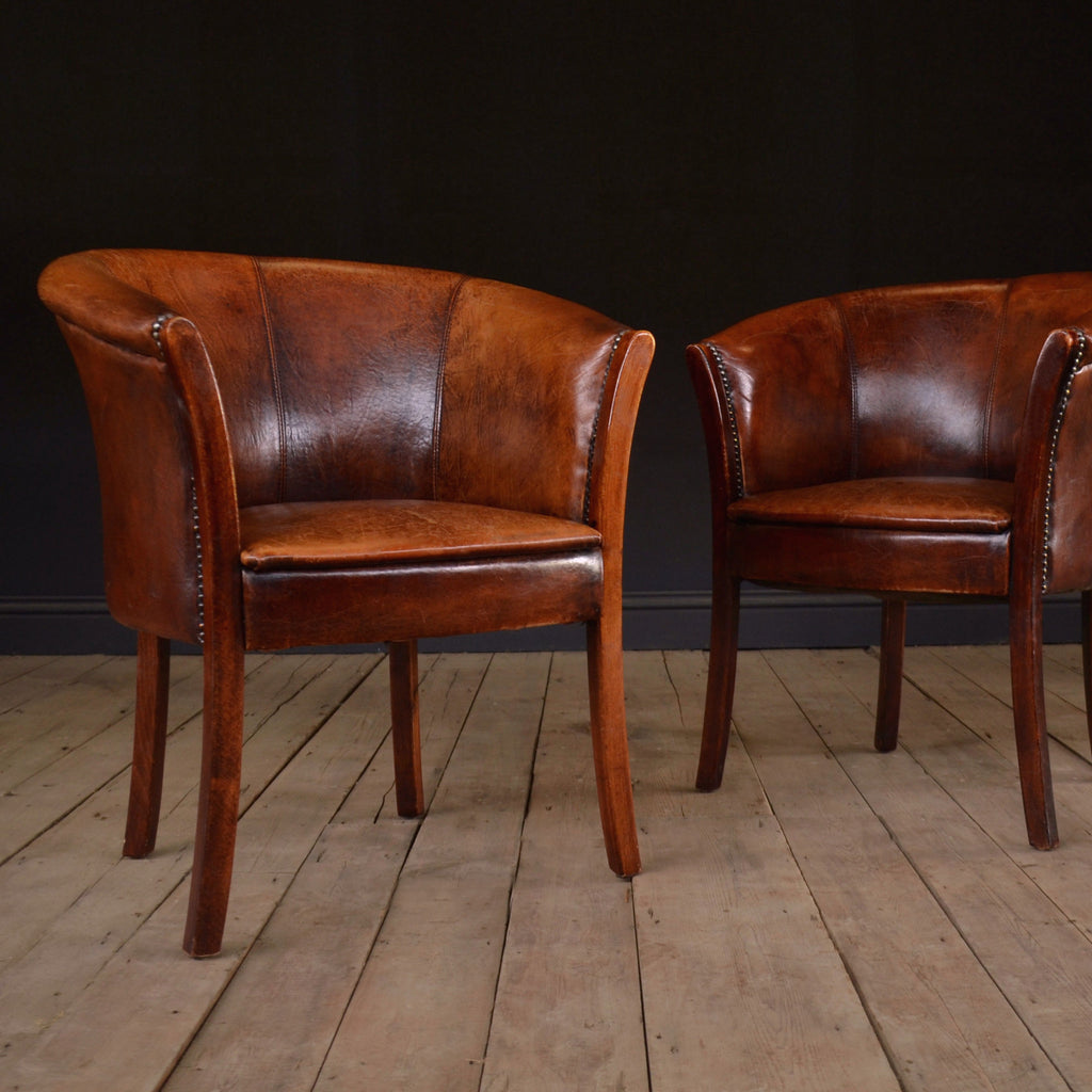 Pair Of Handsome Vintage French Leather Tub Chairs.