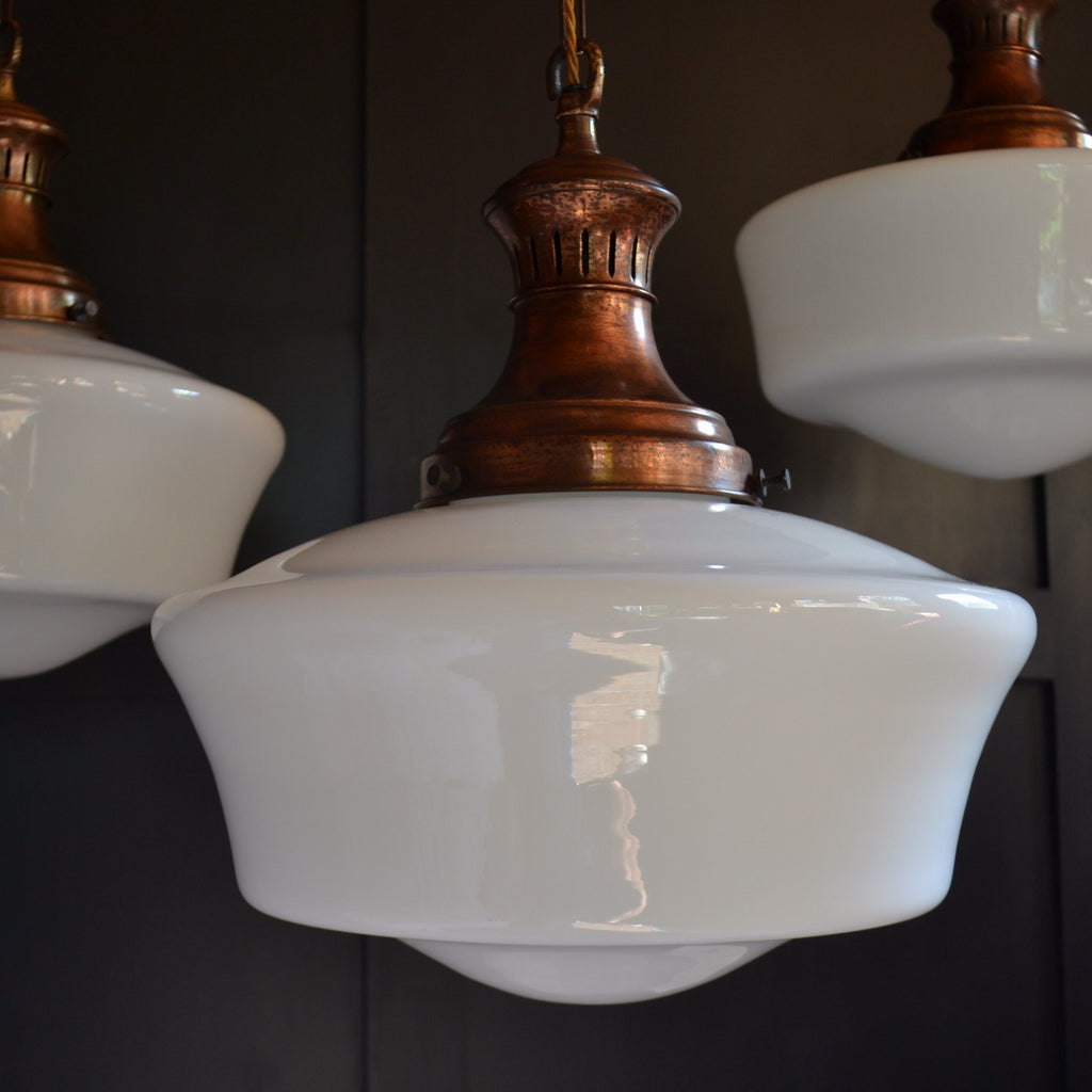 Large Chapel Opaline Pendant Lights, Circa 1920.