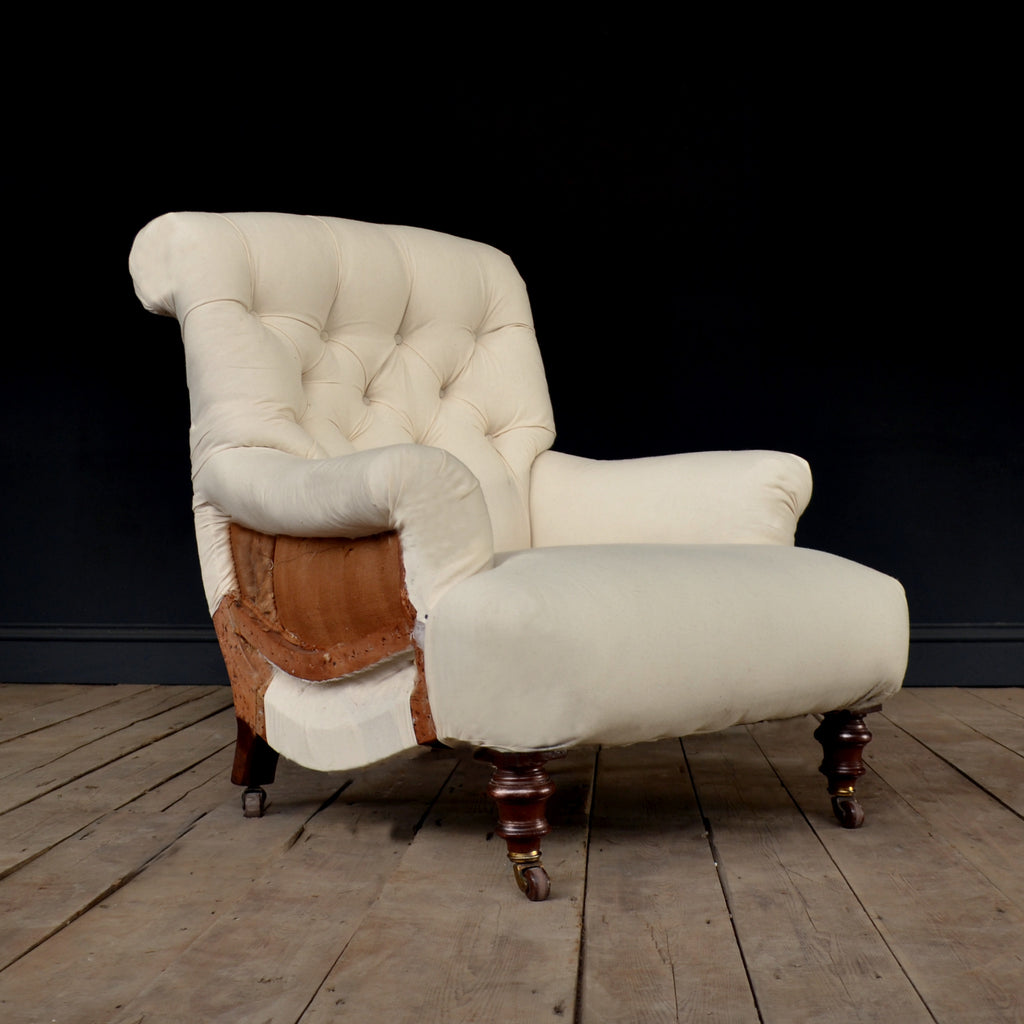 A Good 19th Century English Scroll Back Armchair by Cornelius V. Smith. Inc Upholstery