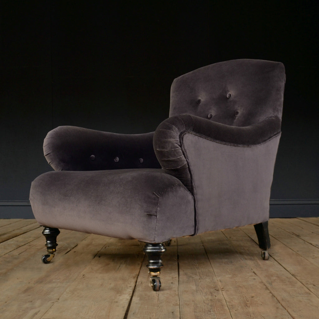 Late 19th Century Ebonised Howard Style Armchair. 'SOLD'