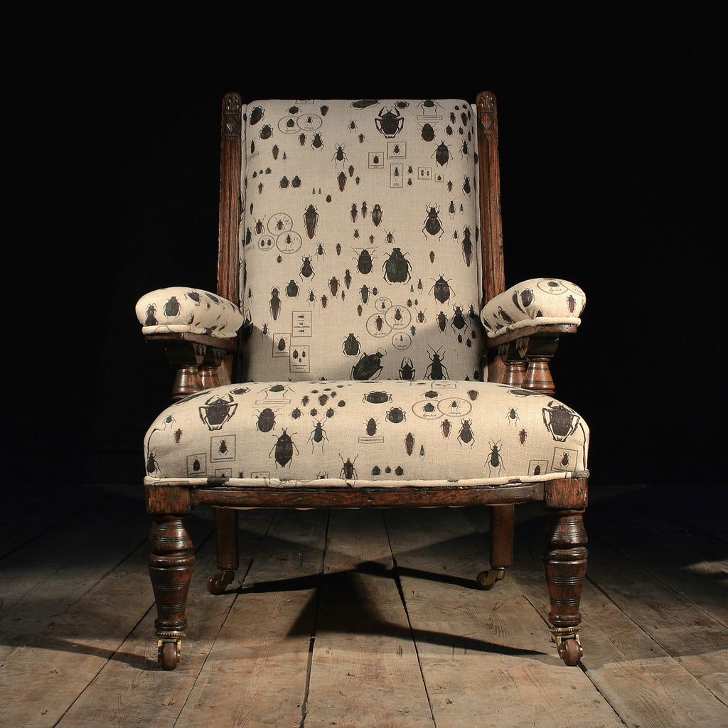Edwardian Entomology Oak Library Arm Chair, Circa 1910