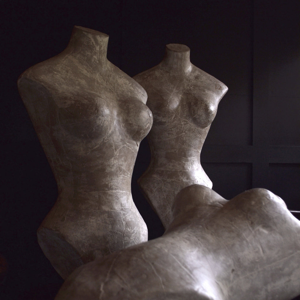 Three French Paper Mache Display Mannequin Dress Forms, Circa 1950