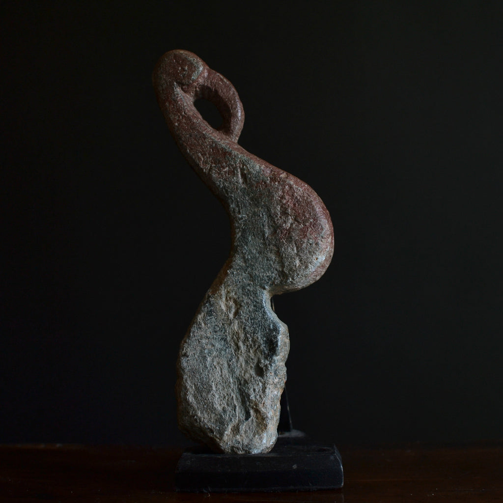 Early Hand Carved Stone Architectural Ibis Wall Hook.