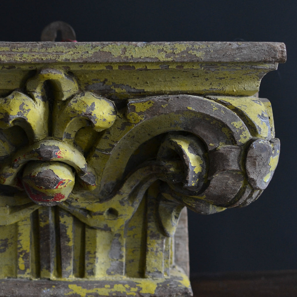 18th Century Painted Architectural Pillar Capital