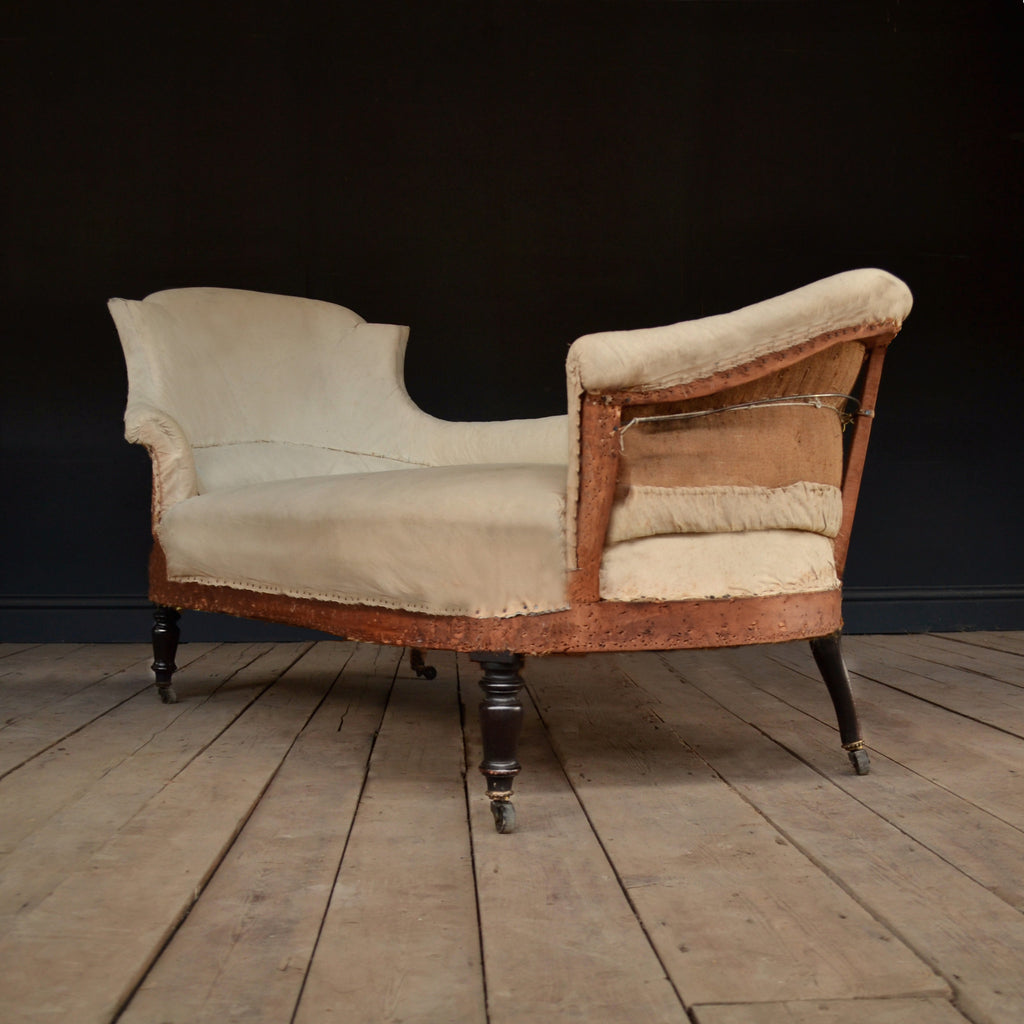 Beautiful Scarce 19th Century Napoleon III French Chaise Longue, Upholstery inclusive.