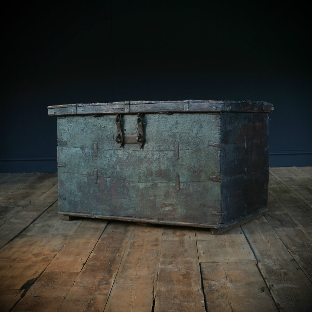 A Large 18th Century Teak Iron Bound Green Painted Chest