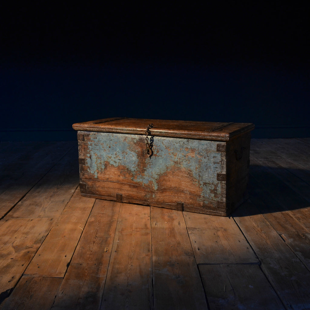 18th Century Blue Painted Indian Temple Chest