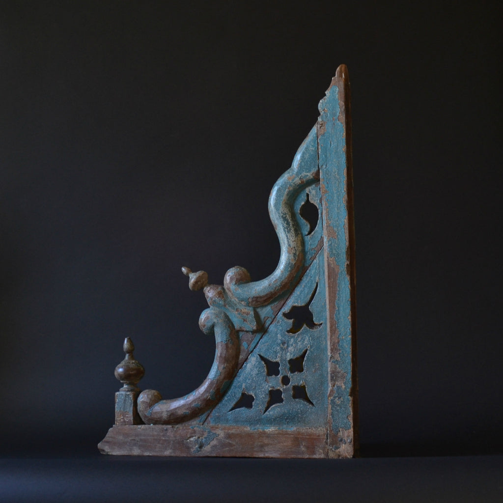 A Large 18th Century Architectural Painted Temple Bracket