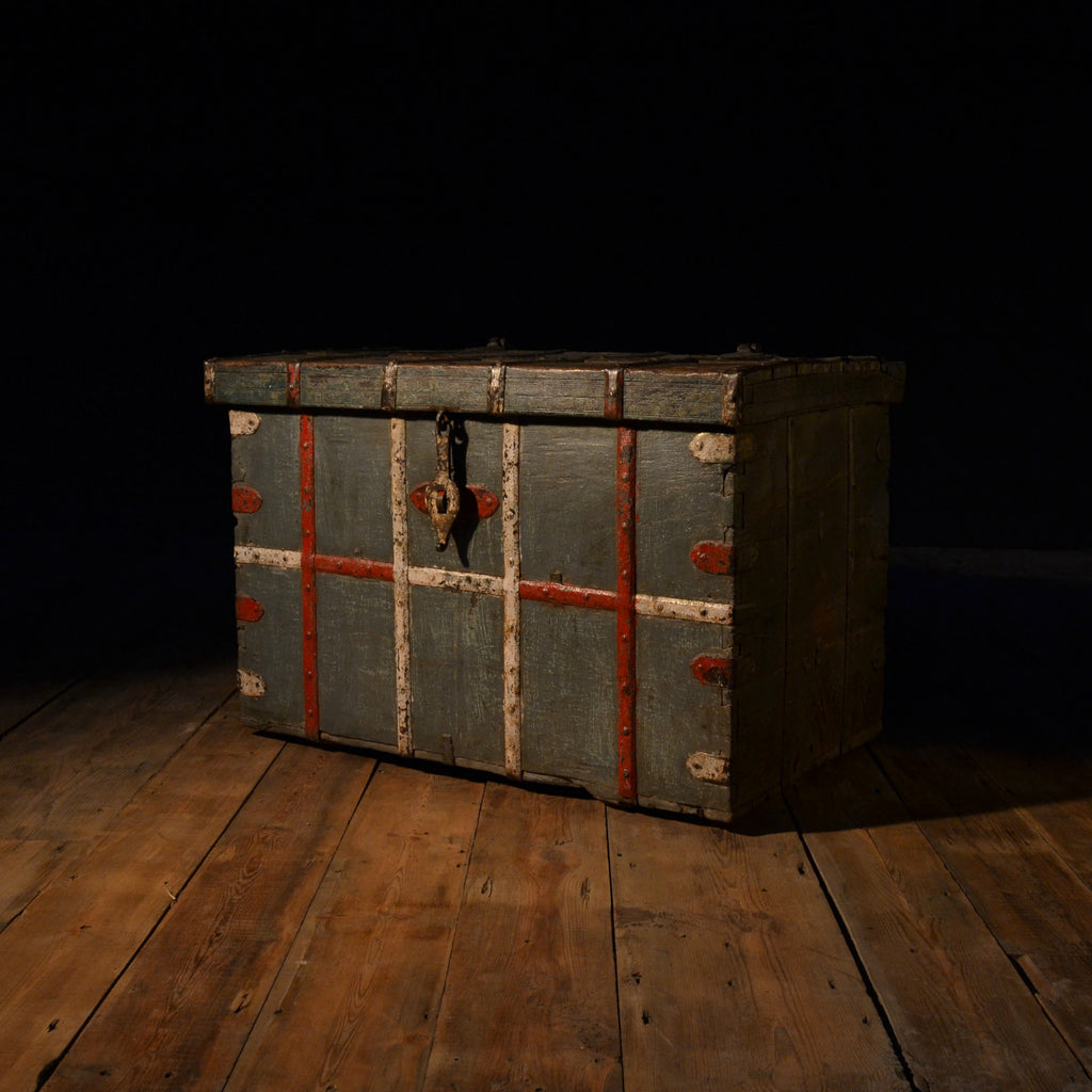 18th Century Hardwood Iron Bound Painted Chest