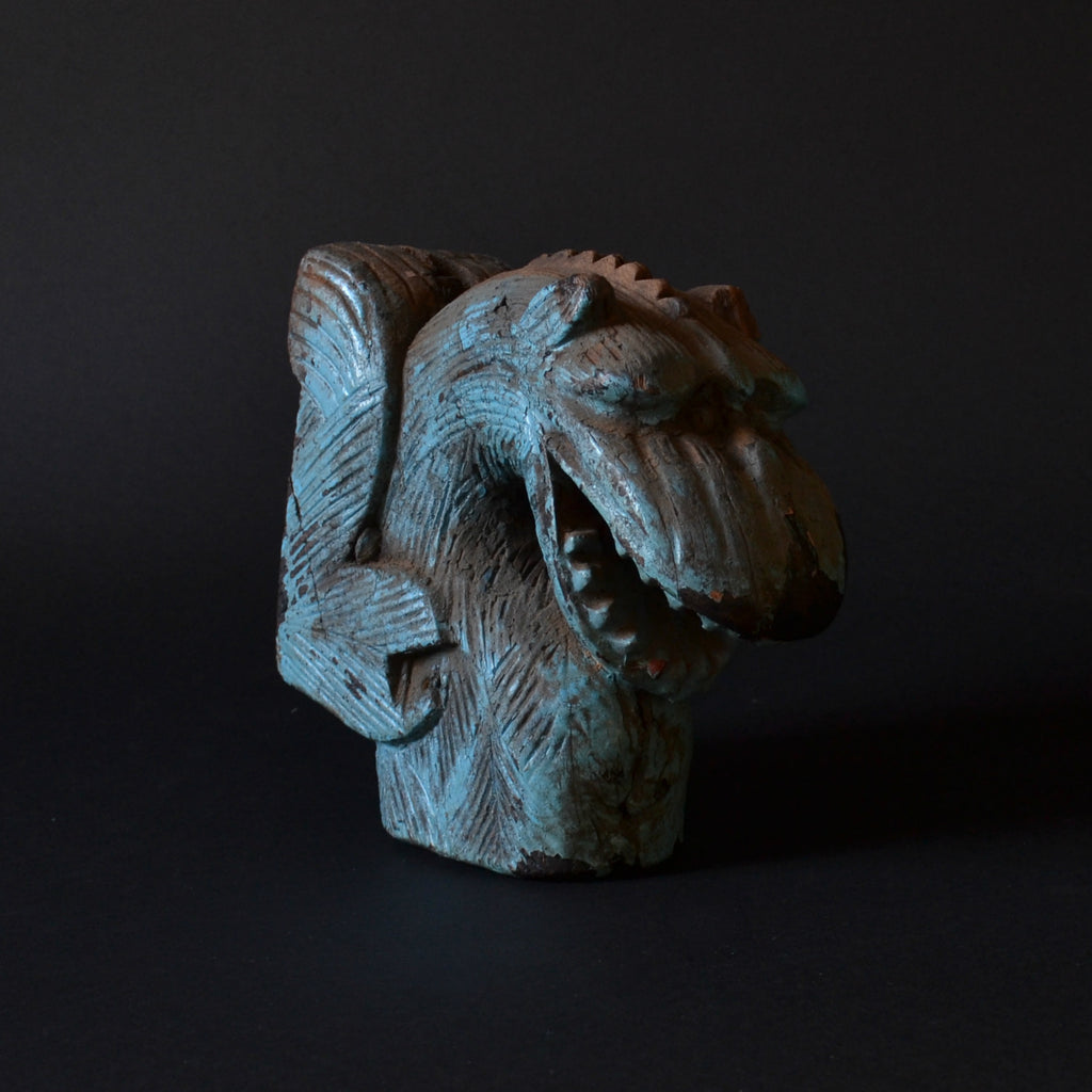 Early 19th Century Painted and Carved Dragon Head