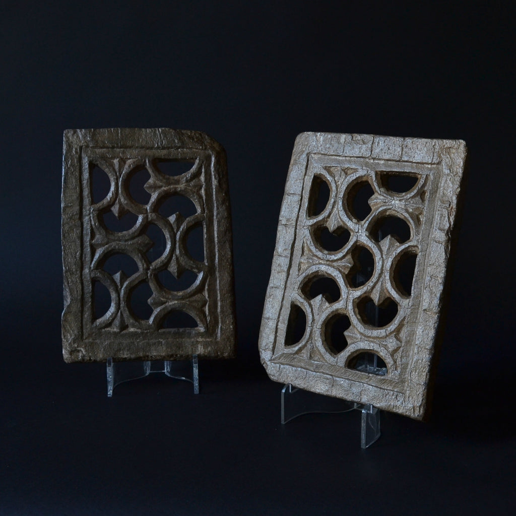 A Pair Of Early Architectural Carved Stone Panels